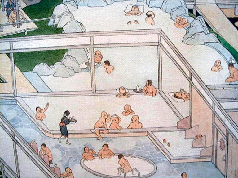 На фото общественная Японская баня – сэнто в зарисовке.