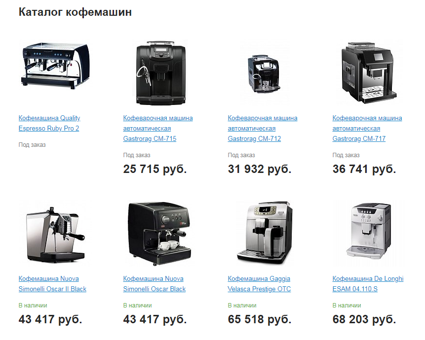 Catalog of coffee machines for coffee business plan